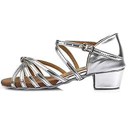 Zapatos de BAILE Latino Plateado YKXLM