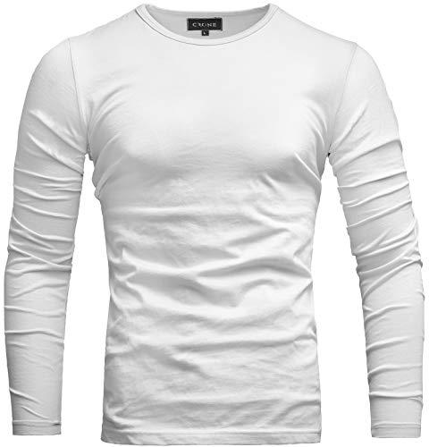 Crone Essential Basic Herren Slim Fit Langarm Rundhals Shirt Longsleeve T-Shirt Sweatshirt in vielen Farben (M, Weiß) - Baumwolle Langarm Jumper