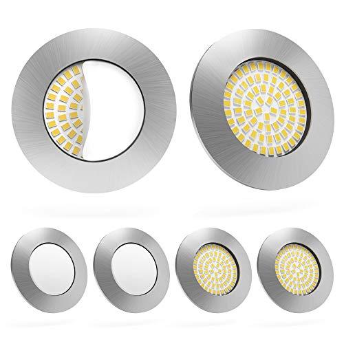 LED Einbaustrahler 6er Set von Scandinavian home | LED Spot Deckeneinbauleuchte ultra flach Badezimmer geeignet | 5W 500lm 3000K warmweiß 60-68mm 220 / 230V A++ | rundes Edelstahldesign - Milchglas