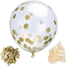 Mudder Globos de Confeti de 10 Piezas Globos Semi-transparente de 12 Pulgadas con Confeti Dorado de 30 g para Decoraciones