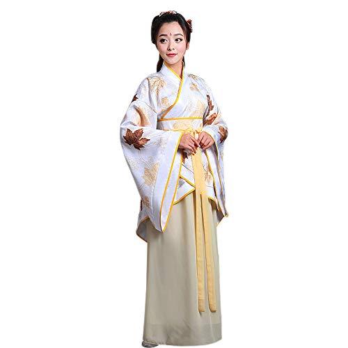 KINDOYO Damen Altertümlich Kostüm Chinesischen Stil Hanfu Tang Anzug Kleid Traditionelle Kleidung Cosplay Performances Kostüm, Gelb/M