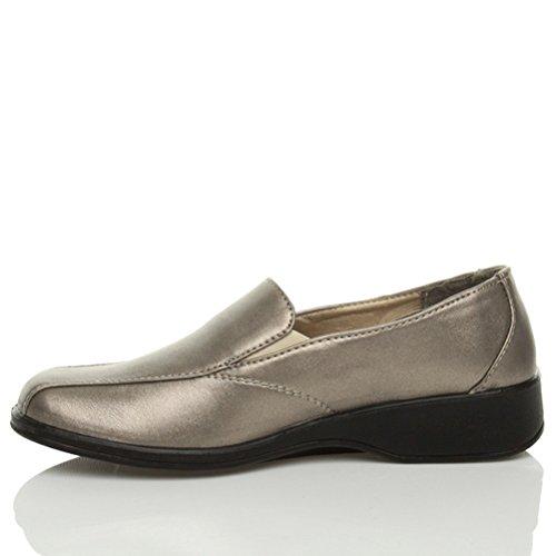 ... Damen Kleiner Absatz Keilabsatz Zwickel Gehen Arbeit Komfort Schuhe  Größe Bronze Metallische Pewter ...