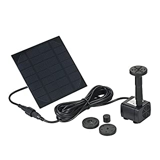 Decdeal Solar Powered Water Pump Solar Pond Pump Submersible Fountain Pump for Bird Bath 170L/H