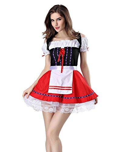 Schulter Magd Uniform in Versuchung Halloween Bier Mädchen Spiel cosplay Hollow Lace Perspective Kleid , red , one size (Halloween-bier-mädchen)
