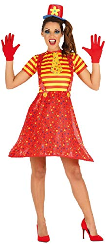 Gelb Clown Kostüm - Damen Rot Gelb Crazy Clown Zirkus