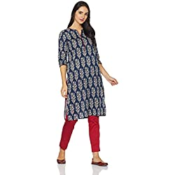 Myx Women's Cotton Straight Kurta (AW17ST3INOP_Blue_XL)