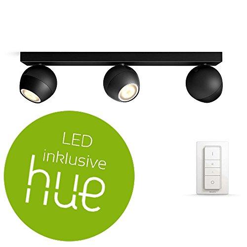 Philips Hue White Ambiance Buckram Deckenleuchte 3-er Spot, inkl. Dimmschalter, schwarz   LED-Küchenleuchte mit Fernbedienung   Kompatibel mit AMAZON ECHO/ALEXA und APPLE HOMEKIT   App-Steuerung
