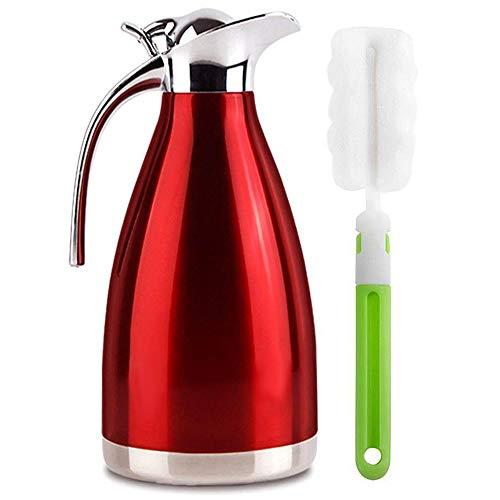 Edelstahl Doppelschicht Vakuum kaffeekanne Haushalt thermosflasche Europäischen Stil thermosflasche - Heiß und kalt dual Gebrauch (2L Rot) -