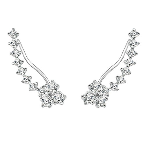 BiBeary Damen elegant 925 Sterling Silber Zirkonia CZ Cuff Ohrklemme Fashion Ohrringe klar