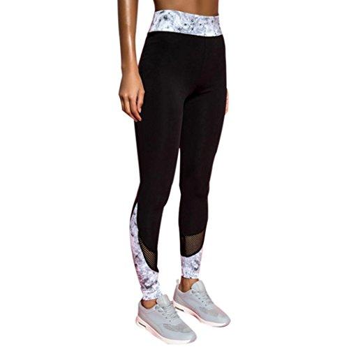 Damen Mode Training Leggings Fitness Sport Gym Running Yoga Hosen Spleißsportanzug Jogginghose Gymnastik Outdoor Lange Hose Tights Aathletische Casual Pants Workout (Sexy Schwarz, L)