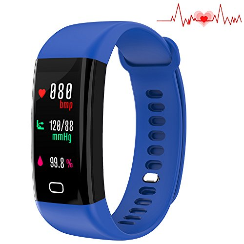 Fitness-Tracker, wasserdicht nach IP67, Herzfrequenzmesser, Smart Watch, Sport-Blutdruckmessgerät, Aktivitäts-Tracker, Schlaf-Monitor, Kalorien-/Schrittzähler, Smart-Armband für Android iOS(Blau)