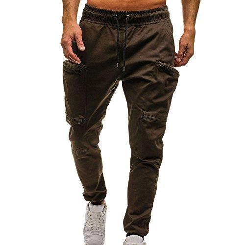 Kostüm Weisen Männer Geburt - UJUNAOR Mann Jogger Cargo Herren Chino Jeans Hose Slim Fit Herren Stretch Freizeithose Militär Hose Army(Kaffee,EU 52/CN 3XL)