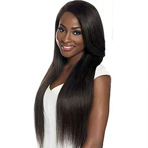 kjgg Perruque Dames Long Cheveux Raides Cheveux Longs dans Le Style De Cheveux Frange Adapté À Toute Couleur De Peau Peut Être Teintée Perruque De Soie Haute Température Chaude,Noir,Hlh