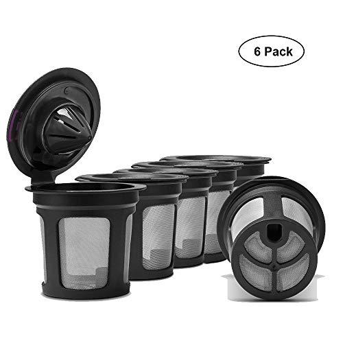 bare K-Tassen, wiederverwendbare Filterbecher für Keurig 2.0 & 1.0 Kaffeemaschine, nachfüllbare Single Cup Kaffeefilter (6er Pack) ()