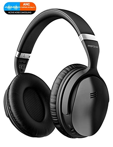 Mpow H5 Casque Bluetooth, Annulation Active du Bruit, autonomie 30 Heures, Casque Bluetooth avec Audio stéréo Hi-FI, Active Noise Cancelling Headphones Pliable pour Repos/Voyages/PC/téléphones