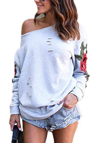 Fanvans Damen Casual Sweatshirts Lange Ärmel Schrägen Kragen Loch Rose Bestickt Oberteile Grey L