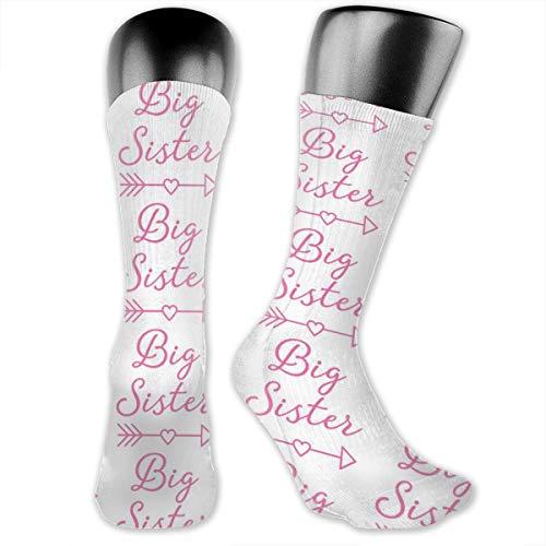 Fun Life Art BIG-sister-with-heart-arrow-hot-pink Athletische Vollbesatzungs-Socken für Herren und Damen mit Kompressionsfuß im Fitnessstudio