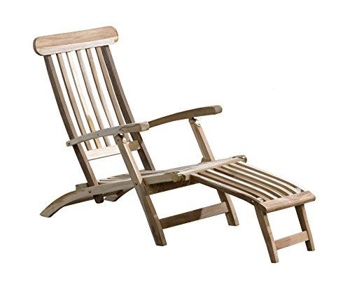 Trendy-Home24 Teakliege Deckchair Sonnenliege Teakholz Gartenliege Holzliege massiv