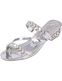 770741b4f Sandalias de tacón con Diamantes de imitación para Mujer con Puntera  Abierta