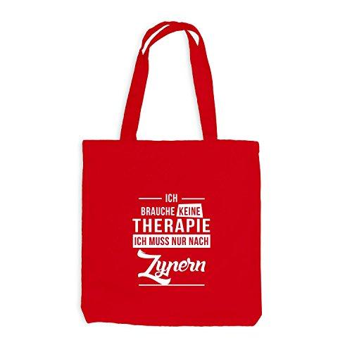 Jutebeutel - Ich Brauche Keine Therapie Zypern - Therapy Cyprus Urlaub Rot