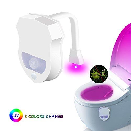 JESWELL WC Licht mit Bewegungsmelder, UV Sterilisation Toiletten Licht mit 8 Farben Wechselnde LED Toilette Licht Sitzleuchte Detektor Toilette Motion Aktiviert WC-Schüssel Licht
