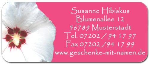 """Adress-Etiketten """"Hibiskus"""" mit Wunschtext, 160 Stück, ca. 56 x 23 mm, für bis zu 5 Zeilen"""