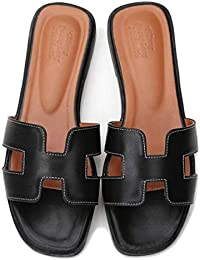 f8c2834de296 GirlFriendMaterial Women Flat Casual Shoes Flip Flog H Sliders Ladies  Summer Sandals Flip On Slides PU