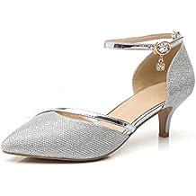 b419183807c8c WUIWUIYU Femme Bout Fermé Escarpins Chaussures de Cérémonie Mariage
