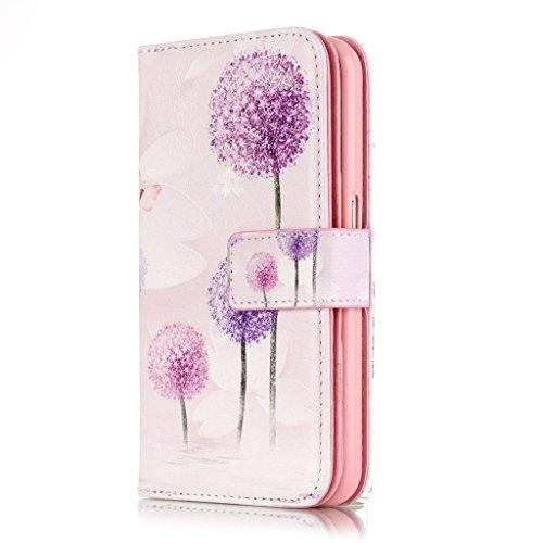 BoxTii® - Custodia in pelle PU a portafoglio con cover in silicone per Apple iPhone 6/iPhone 6s, con supporto, con 6 porta tessere, funzione chiusura magnetica staccabile, Ecopelle, #7 Love, Samsung G #9 Dandelion