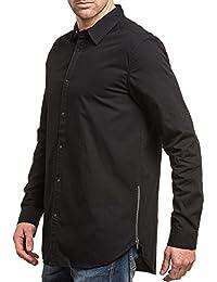 BLZ jeans - Chemise homme noire longue zippée fashion