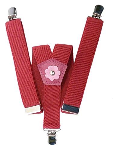 Hosenträger für Mädchen 1-5 Jahre mit 3 Clips und Blume Design - Fuscia Rosa