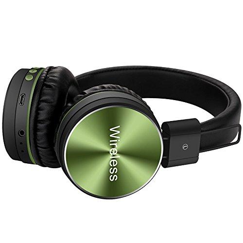 set Kopfhörer, Gaming Kopfhörer HiFi-Stereo-Headset V4.2 Bluetooth Wireless mit Mikrofo kabellose HiFi Stereo Kopfhörer für iPhone, Huawei und Samsung Tablets, Laptops & PC (Grün) ()
