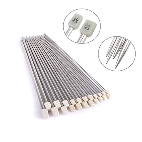 Metal Knitting Needles Long Knitting Needles Metal Knitting Needles Set in case Knitting Needles Set 2.0mm 2.5mm 3.0mm 3.5mm 4.0mm 4.5mm 5.0mm 5.5mm 6.0mm 7.0mm 8.0mm 11 Pairs (22 Pcs)