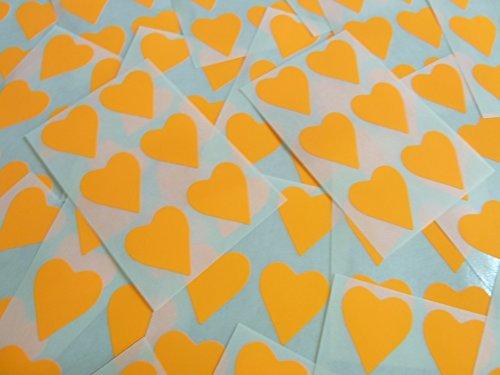 22x20mm Fluorescente Naranja Brillante Mandarina Con Forma De Corazón Etiquetas, 90 auta-Adhesivo Código De Color Adhesivos, adhesivo Corazones para Manualidades y Decoración