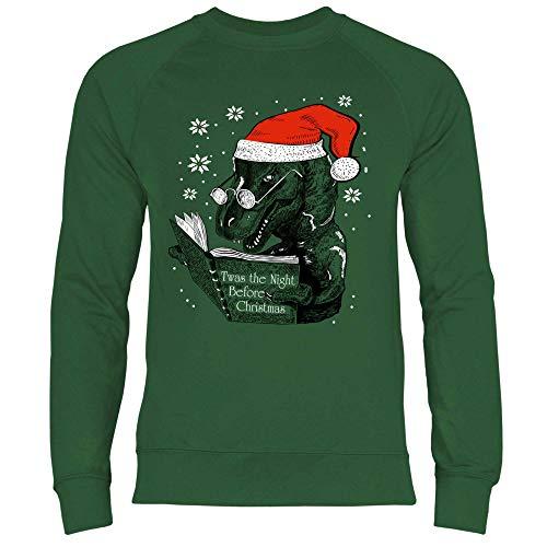 wowshirt Herren Sweatshirt Atheist Weihnachten Ugly Christmas Dino, Größe:M, Farbe:Bottle Green