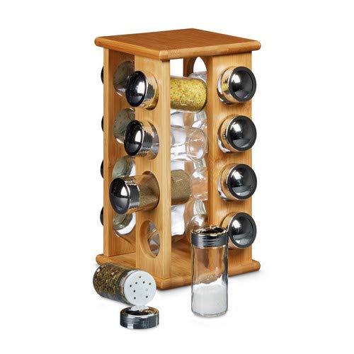 Relaxdays Gewürzständer aus Bambus mit 16 Gewürzgläsern HBT ca. 30 x 19,5 x 19,5 cm stehendes Gewürzregal mit Gewürz-Behältern als Gewürzkarussell mit Einsatz zum Streuen von Gewürzen, natur