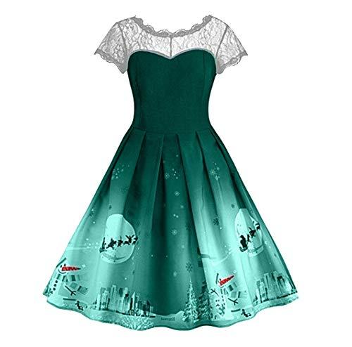 Qmber Kleider Damen Kleid 1950er Vintage Brautjungfernkleid Petticoat -