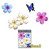 Fiore frangipani plumeria multicolore doppio + farfalla adesivi auto autoadesivi - ST00024MC_SML - JAS Stickers