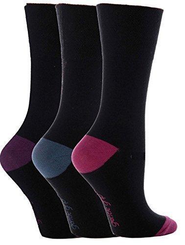 4e8857d964742 3 Pairs Ladies Gentle Grip Loose Soft Top Diabetic Non Elastic Socks Size 4- 8