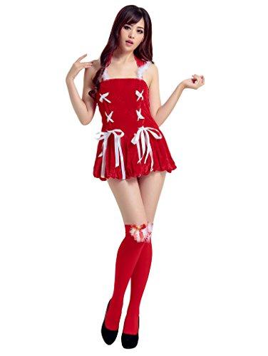 Smile YKK Ruckenfrei Damen Weihnachten Kostüm Minikleid Cosplay Kostüm Rollenspiel Kostüm,Strumpf+Mütze+Kleid Rot