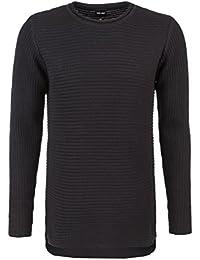 98-86 Herren Grobstrick Pullover in grau & schwarz | Strick-pullover mit Rundhalsausschnitt aus hochwertiger Baumwolle