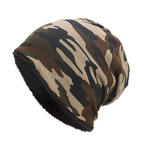 YWLINK Beanie MüTze Camouflage Woodland Mit Warmes Futter FüR Damen Herren MäDchen Jungen Hat Unisex One Size(Kaffee) -