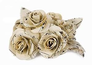 Bouquet di rose di carta da musica naturale riciclata realizzato a mano (4.5cm x 4.5cm)