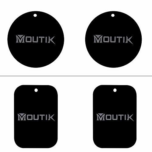 Moutik 4 Stücke Magnet Metallplatt für Ersatz, Metallplättchen Selbstklebend Set Mount Metall Platte für Magnetische Handyhalterung in Auto (2 Runden + 2 Rechteckig) - Ersatz-magnet