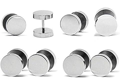 Thenice Hip Hop 4 Pair Silver 16g Rock Round Stud Earrings Titanium Steel Wheels (Diameter 6 mm)