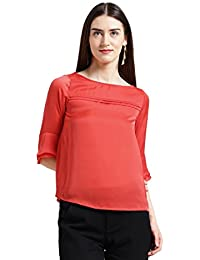 Zink London Red Solid Satin Regular Top for Women
