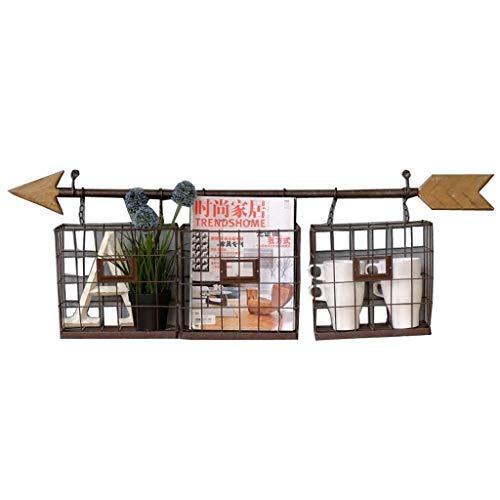 Lw Magazine rack Estantes para periódicos Soporte de revistero montado en la Pared Decorativo marrón Antiguo de Hierro Fundido (Size : 101 * 15 * 34cm)