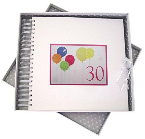 WHITE COTTON CARDS 30. Geburtstag, Karte & Speicher Buch, Neon Glitter Luftballons