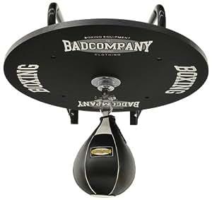 Profi Speedball Plattform Set inkl. Drehkugellagerung schwarz und Leder Boxbirne medium schwarz / Boxapparat für die Wandmontage