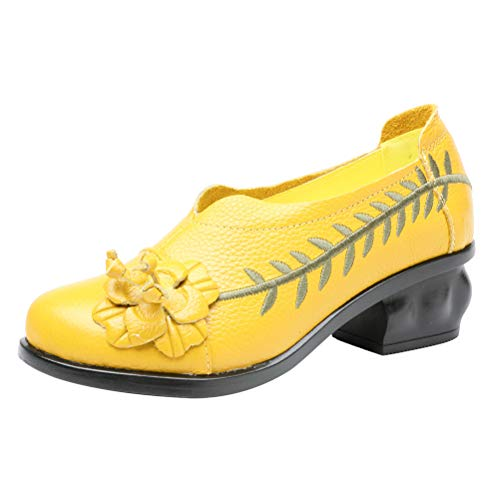 Mallimoda Damen Leder Slipper Mokassins Klassische Pumps Weinlese Handgefertigte Große Blume Loafers Schuhe mit Absatz Gelb EU 40=Asian 41 (Gelbe Schuhe Mit Absätzen Für Frauen)